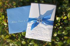 Letterpress Cornflower Blue and White Wedding Invitation by DancingPenandPress, $100.00 www.dancing-pen.com