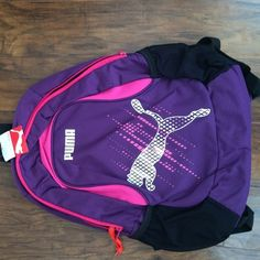 Purple and pink Puma back pack! Two pockets d631bfa55462d