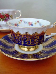 Cobolt Blue and Gold Teacup & Saucer:)