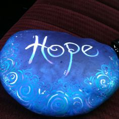 Large rock painted for Relay for Life, could paint with glow in dark paint--fundraiser