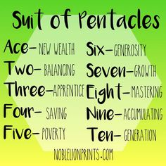 Suit of Pentacles Quick Reference Visit http://www.noblelionprints.com for more tarot tips!