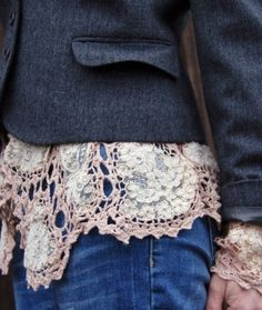 Sew Doilies inside the bottom of a shirt or jacket and sleeves.