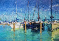 Sailboats Painting - Sailboats At Balatonfured by Judith Barath