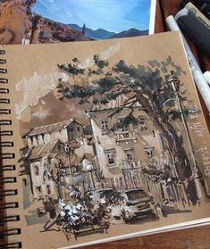 Illustration on toned paper. Toned Paper, Sketchbook Inspiration, Sketchbook Ideas, Urban Sketching, Art Drawings Sketches, Love Art, Art Inspo, Amazing Art, Illustration Art