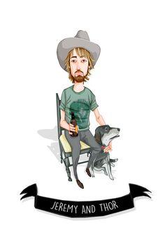 Ritratto personalizzato il mio cane e Me / di TheMochiAndTheBear