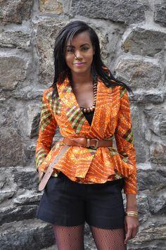African Print Top - Justina Wrap Top