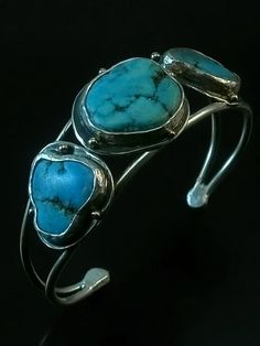 Turquoise Nugget Cuff Bracelet sterling silver  by CavanaDesign, $250.00