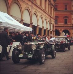Piazza Galvani, Front row seats in Piazza Galvani to see the Mille Miglia cars come in Bologna - Instagram by @bushbirdie