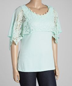 Another great find on #zulily! Mint Beaded-Neck Cape-Sleeve Top - Plus by Seven Karat #zulilyfinds
