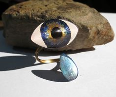 Dark Blue Eyeball Ring with Tear Adjustable Brass Double Ring with Hand Painted Glass Eye - 30x16mm Eye 14x10mm Tearcrop Wrap Ring by TheGlitorisShop on Etsy