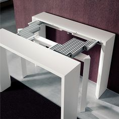 This hall table transforms into a long dining table!   Goliath | Resource Furniture | Space Saving Tables