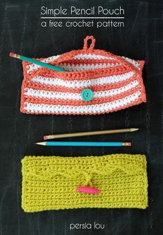 Persia Lou: Simple Pencil Pouch Crochet Pattern---I'm gonna make one for my crochet hooks Cute Crochet, Crochet Yarn, Crochet Hooks, Simple Crochet, Crochet Ideas, Crochet Needles, Beginner Crochet Patterns, Crochet Organizer, Crochet Hook Case