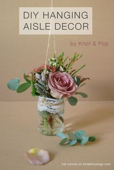 DIY hanging aisle decor / alternative bouquet tutorial by creative wedding planners Knot & Pop. A super easy DIY project perfect for rustic weddings! On Your Wedding Day, Wedding Blog, Diy Wedding, Wedding Flowers, Wedding Ideas, Young Wedding, Wedding Bouquet, Bridal Musings, Cute Diy Projects