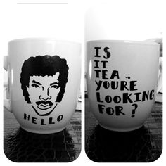 ORANGE Lionel Richie Coffee Mug by TessaPalendat on Etsy, $20.00 - How could you not be smiling while drinking lemongrass tea out of this mug?