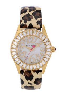 Betsey Johnson Baguette Crystal Bezel Leopard Strap Watch