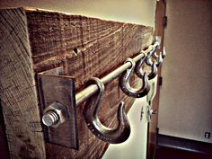 "Reclaimed Lumber Industrial Coat Rack ""The Autumn"" or could be a hat rack."