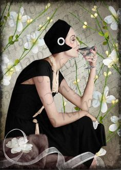 Lady Sipping Wine Digital Collage Greeting Card by victorian1920, $5.00