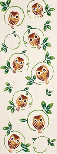 PRAIRIEDOG WAFUKA Tenugui Autumn Situation Forest Owls Japanese Cotton, Bird Patterns, Pattern Illustration, Cotton Towels, Japan Fashion, Modern Wall Art, Backdrops, Cotton Fabric, Wall Decor
