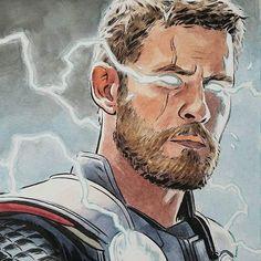 Avengers Drawings, Avengers Fan Art, Marvel Fan Art, Marvel Heroes, Marvel Characters, Thor Drawing, Disneysea Tokyo, Marvel Paintings, Pinturas Disney