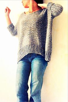 """Soooversize"" sweater knitting pattern by SOOO °°° on Ravelry Jumper Knitting Pattern, Knitting Patterns Free, Knitting Sweaters, Free Pattern, Knitting Ideas, Pull Crochet, Knit Crochet, How To Purl Knit, Crochet Clothes"