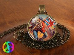 Handmade Iron Maiden The Trooper Fan Glass Pendant Mens Necklace Jewelry Gift