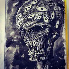 #inktober #inktober2016 #sketchbook #brushpen #monster #eyes #corruption #power #teaser