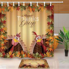 Thanksgiving Turkey Couple Shower Curtain Bathroom Fabric & 12Hooks 7171Inches
