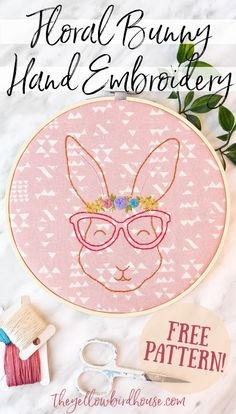 Adorable floral bunny hand embroidery free pattern download. Create this cute bespectacled rabbit with a lovely floral crown using this free embroidery pattern. Free woodland animal embroidery pattern. Free embroidery pattern for beginners. Easter-themed DIY decor. How to embroider florals on a little bunny design. Embroidery Patterns Free, Modern Embroidery, Embroidery For Beginners, Embroidery Stitches, Hand Embroidery, Cross Stitch Patterns, Sewing Patterns, Sewing Tutorials, Sewing Projects