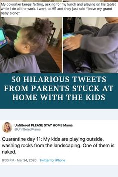 Quarantine for parents = the most challenging situation of your entire life. Stupid Funny Memes, Funny Tweets, Funny Fails, Funny Posts, Funny Quotes, Hilarious, Teen Quotes, Funny Stuff, Jokes Quotes