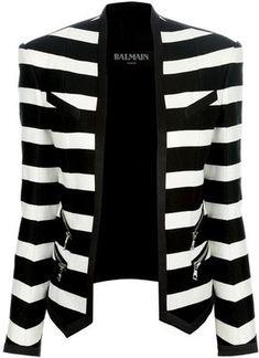 Cortado Listrado Jaqueta Esporte Linda!!! - / Balmain Striped Cropped Blazer Beautiful!!! -