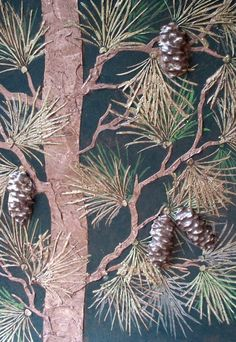Raised Plaster Life-Sized Pine Tree and Plaster Mold Stencil Set