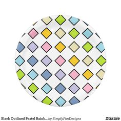 Black Outlined Pastel Rainbow Diamonds Paper Plate