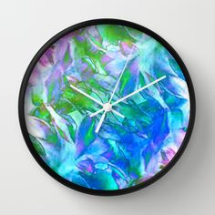 Painterly Soft Rainbow Floral Abstract Wall Clock by Judy Palkimas - $30.00