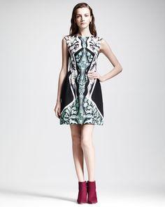 Peter Pilotto Printed A-Line Silk Dress - Neiman Marcus