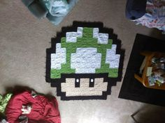 Mario 1-Up Mushroom Pixel Crochet Granny Square Blanket.. love this!