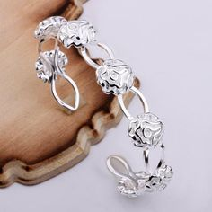 925 Sterling Silver Cuff  Bangle Jewelry Delicate Roses Bracelets