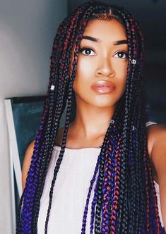 Image result for box braids with pop of color