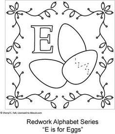 Free Redwork Alphabet Patterns A through G - Redwork Alphabet Embroidery Series Part 1, Page 7