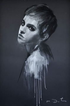 """""""Emma 15"""" by Mark Demsteader. As part of a series he did with Emma Watson for a charity event. Pastel and collage."""