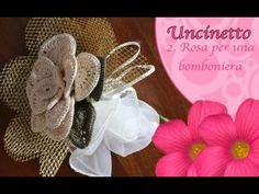 Uncinetto fiore : rosa bomboniera - segnaposto - YouTube