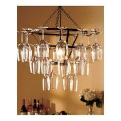 Wine Glass Chandelier Holder Rack Hanging Vintage Kitchen Bar Dining Light Lit