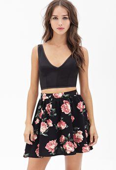 Rose Print Skater Skirt #F21StatementPiece August 3rd, 2014