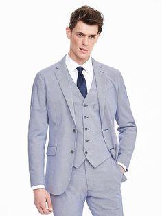 Modern Slim Cotton Gingham Suit Jacket