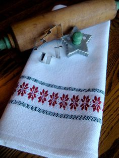 Serviette de cuisine de Noël Noël serviette par ThistleRoseWeaving