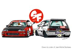 Crazy car art by mame-ozizo on DeviantArt Honda Civic Hatchback, Honda Civic Si, Tuner Cars, Jdm Cars, Honda Rsx, Civic Ef, Honda Motors, Japon Illustration, Weird Cars