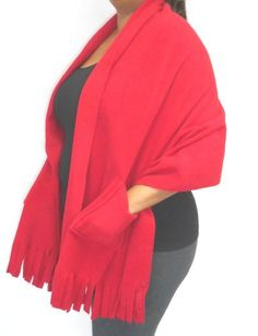 "Polar Fleece Shawl Wrap Shoulder Cozy Pockets, Fringe 78"" x 27"""