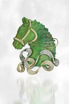 """AGTA Spectrum Awards 2009 - Best of Show - Frederic Sage - """"Enchanted Stallion"""" brooch featuring ct.) and demantoid Garnets ctw.) set in green and white gold. Equestrian Jewelry, Horse Jewelry, Animal Jewelry, Western Jewelry, Jade Jewelry, Jewelry Art, Brooch Boquet, Art Deco Diamond, Designer"""