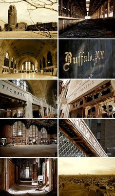 Buffalo Central Terminal, opened in 1929 for the New York Central Railroad, is one of those rare former railway stations that is empty but not abandoned (anymore at least), and as a result appears frozen in time. Abandoned Buildings, Abandoned Places, Buffalo Central Terminal, Buffalo New York, Buffalo City, Illusion, New York Central Railroad, Missing Home, Rust Belt