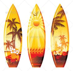 Buy Surf Boards by mart_m on GraphicRiver. Surf boards with bright prints. Eps 10 and Ai CS 3 included. Surfboard Painting, Surfboard Art, Free Vector Images, Vector Free, Water Icon, Hawaiian Art, All Ride, Vintage Hippie, Silhouette Vector