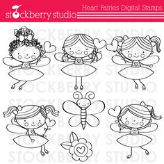 Heart Fairies Digital Stamps_Sellos corazón Hadas digitales Doodle Drawings, Cartoon Drawings, Doodle Art, Felt Patterns, Embroidery Patterns, Hand Embroidery, Fairy Quiet Book, Patch Aplique, Digi Stamps